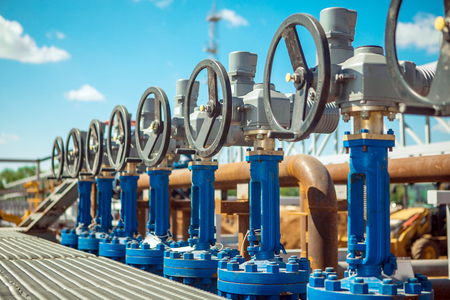 Oil and gas processing plant with pipe line valves Stock Photo