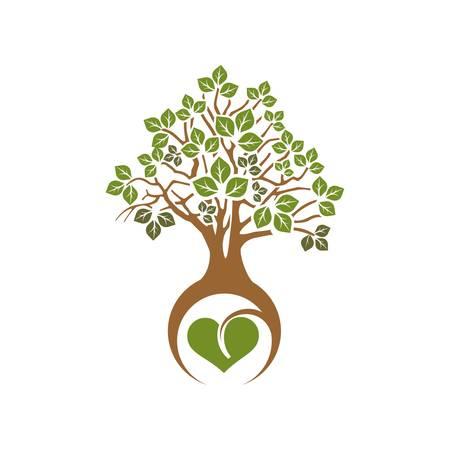 Arbre avec feuilles vertes et racines coeur Illustration