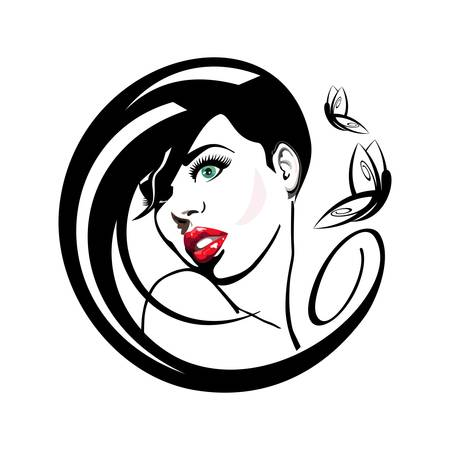 beautician: woman with red lips Illustration