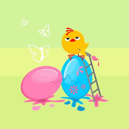 Easter egg, with a funny chicken Illustration
