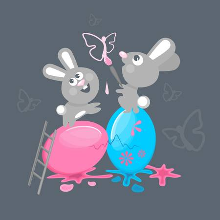 Easter bunnies, paint Easter eggs Illustration