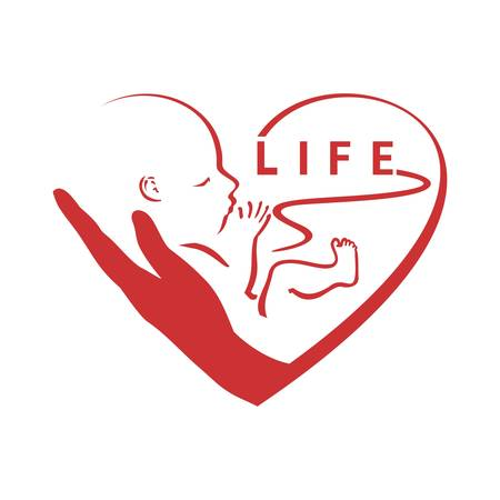 Pro life, a child whit heart, logo