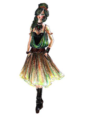 Development of a womens clothing model Banco de Imagens