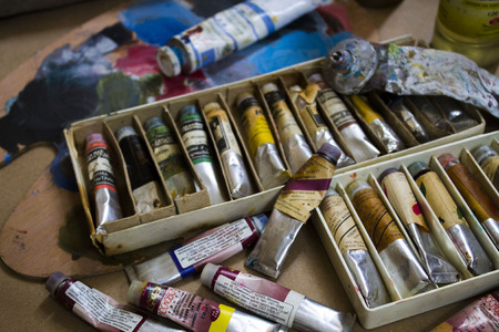 Oil paint in a box for artists Stock Photo