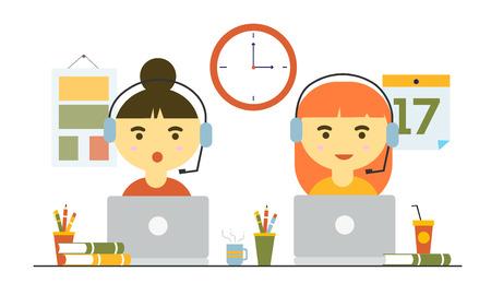 Women working in office as customer service Illustration