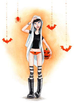 Aquarell Halloween-Mädchen mit Kürbis Standard-Bild - 22503718