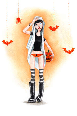 Watercolor Halloween Girl with Pumpkin  Banco de Imagens
