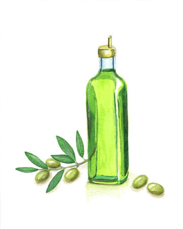 Bottle of Olive Oil and Olive Branch photo