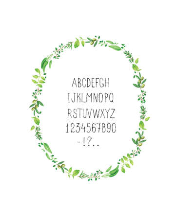 rosemary: Cute floral frame with alphabet for greeting cards and posters Illustration
