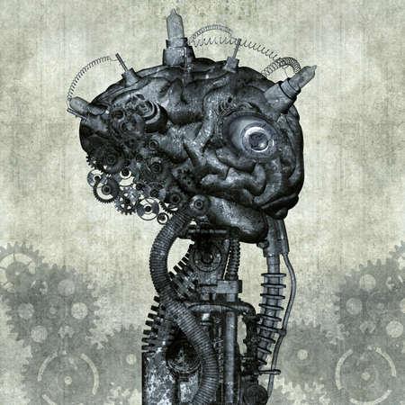 Portrait of an antique Cyborg Stok Fotoğraf