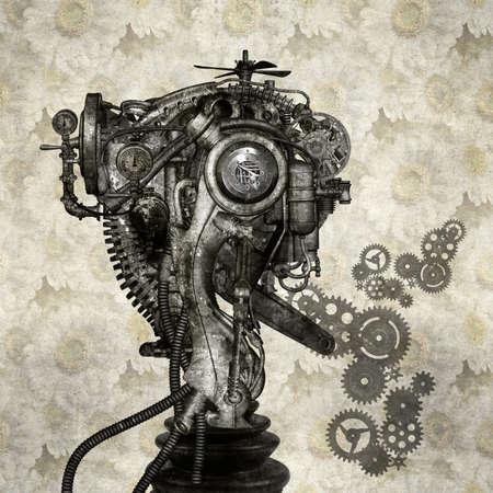 Portrait eines antiken Cyborg Standard-Bild - 25646523