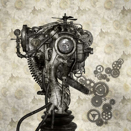 countenance: Portrait of an antique Cyborg Stock Photo
