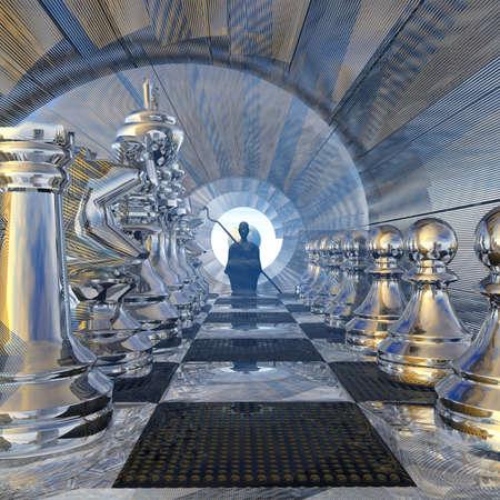 A silent watcher before the chessboard Stok Fotoğraf