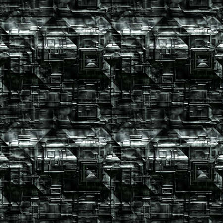 Metal Background Pattern, Techno (Seamless-Tiling) Stock Photo