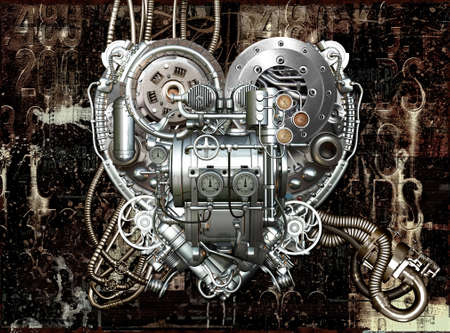 A technically mechanical heart at hard work photo