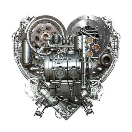 Een technisch mechanische hart op hard werken
