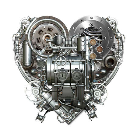 Un cuore meccanico tecnicamente al duro lavoro Archivio Fotografico - 30189827