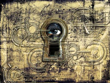 contrema�tre: Big Brother vous regarde � travers le trou de la serrure Banque d'images