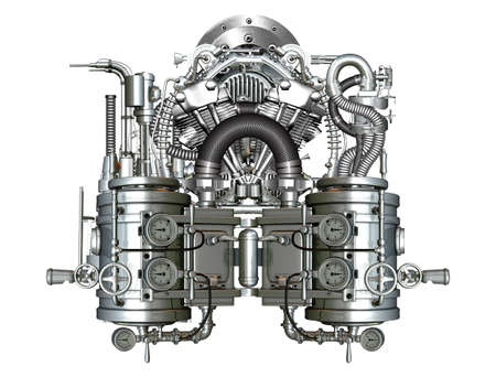 Complicated and fancy two-cylinder engine at work