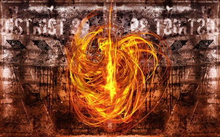 pyromaniac: a large fire devil is in action