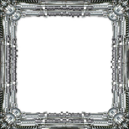 technically: Picture Frame technically and mechanically in silver, white background