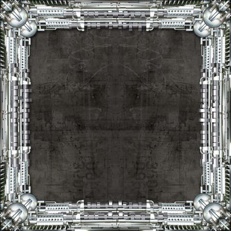 technically: Picture Frame technically and mechanically in silver, dark background