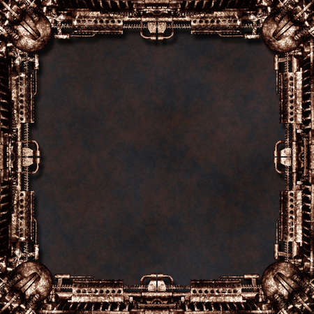 technically: Picture Frame technically mechanically in rust, dark background