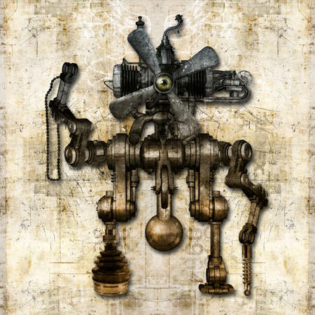 An antique mechanical figure introduces himself and greets the world