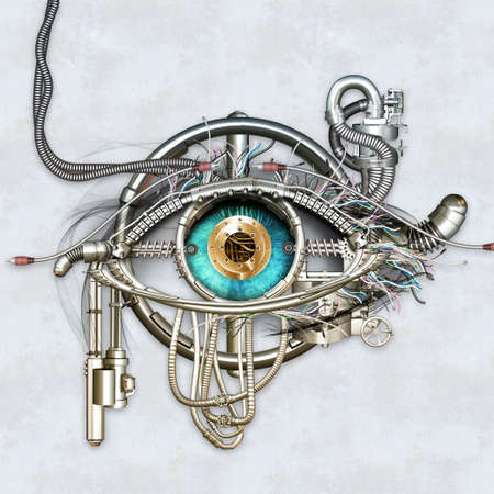 ojos azules: Ojo mec�nico en contacto directo con los ojos Foto de archivo