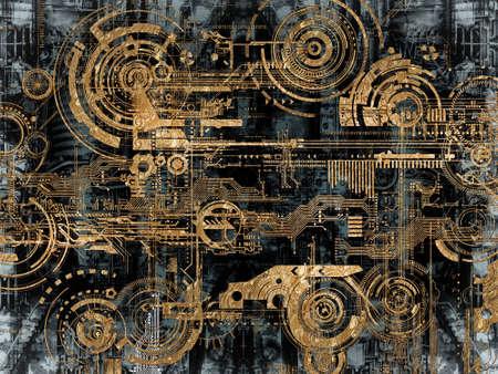 technologie: Un fond Techniquement électronique avec les objets de périphérique