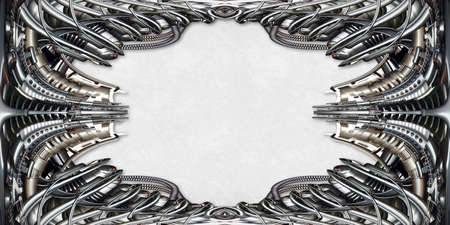 technically: Picture Frame technically and mechanically in silver, bright background