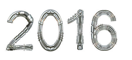 2016 year number, written with technical mechanical letters Stock Photo