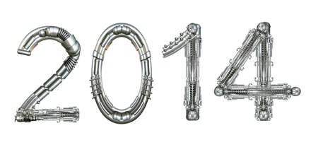 2014 year number, written with technical mechanical letters