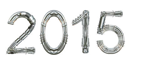 2015 year number, written with technical mechanical letters