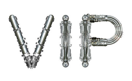 VIP, word concept technically, written with technical mechanical letters