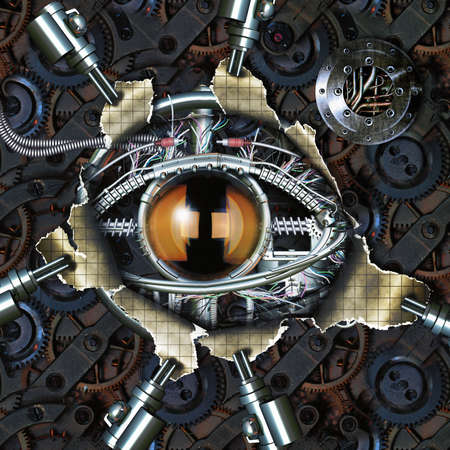 Mechanical eye in direct eye contact photo
