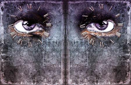 big brother spy: Ojos que miran fuera de una hoja de papel en blanco