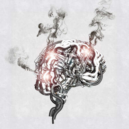 A mechanical brain burns out under the stress Archivio Fotografico