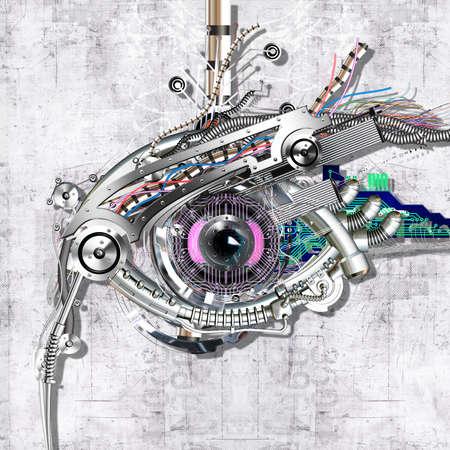 Mechanical eye in direct eye contac photo