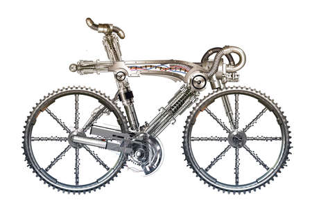 isolates: A detached bicycle Entirely made of metal Stock Photo