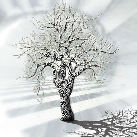 tress: Fanciful tree of happiness with different ornaments