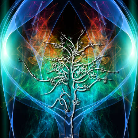 aura energy: The colored aura of a single tree