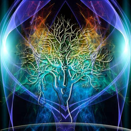 De gekleurde aura van een enkele boom