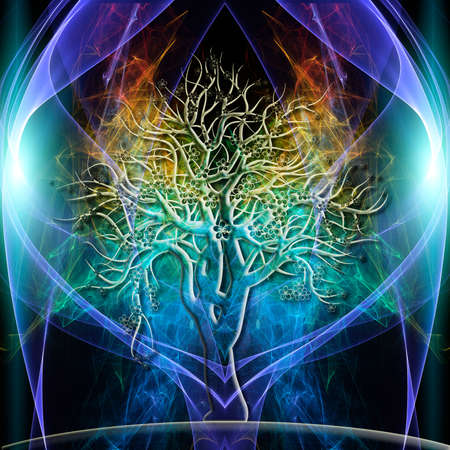 chakra colors: The colored aura of a single tree