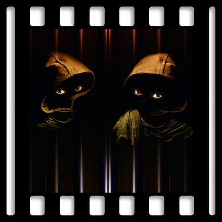 cleavage: Two hooded figures watching you with direct eye contact