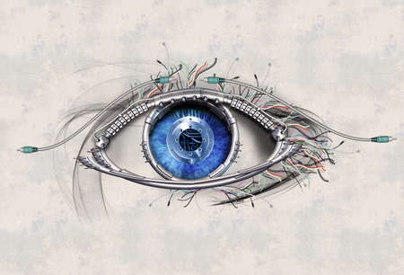 futuristic eye: Mechanical eye in direct eye contact