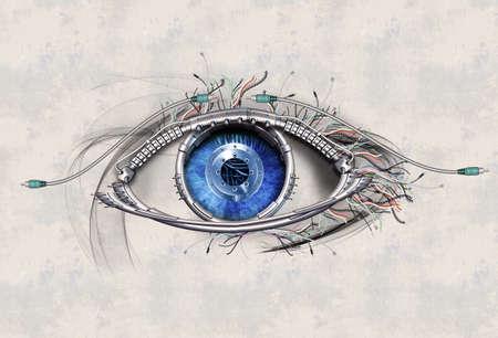 ojos azules: Ojo mecánico en el contacto visual directo Foto de archivo