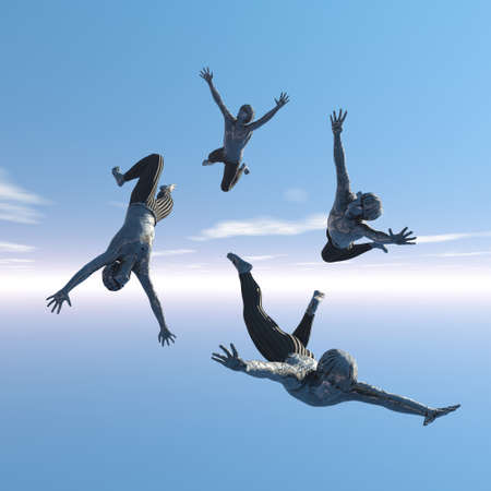 freefall: Four men with much enthusiasm in freefall Stock Photo