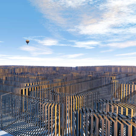 no way out: endless maze with no way out in front of blue sky