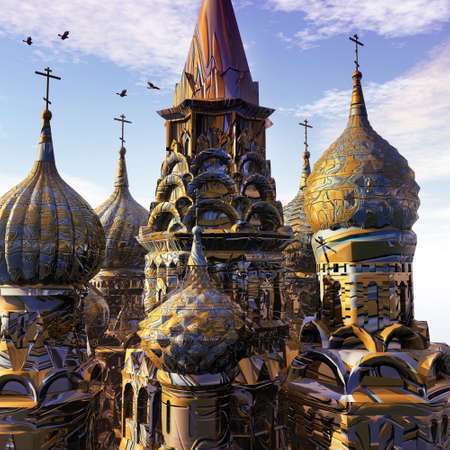 dreamland: Fantasy Palace with towers of gold at sunset